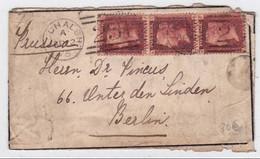 GB - 1875 - YVERT N° 26 (PL 160) BANDE De 3 Sur LETTRE De LOCHALSH Pour BERLIN - Covers & Documents