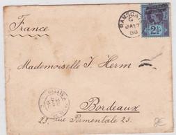 GB - 1888 - YVERT N° 95 SEUL Sur LETTRE De RAMSCATE Pour BORDEAUX - AMBULANT De JOUR CALAIS à PARIS 2° C - Storia Postale