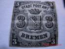 BREMEN ,MICHEL# 1 OR SCOTT# 1A ,3 GR BLACK/GRAY BLUE, MINT OG, - Bremen