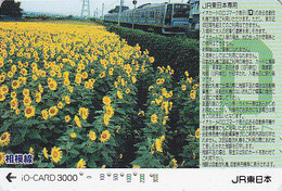 Carte Japon - Fleur TOURNESOL & TRAIN - Japan Prepaid JR IO Card SUNFLOWER - Blume & ZUG Karte - 677 - Fleurs