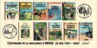 FRANCE 2007 N°01 Albums Fictifs + 2 Cachets Premier Jour FDC TINTIN KUIFJE TIM HERGE GUEBWILLER - Comics