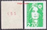 France Roulette N° 3008 A ** Briat - Marianne Du Bicentenaire - 2.70 Frs Vert N° Rouge Au Verso - Rollen