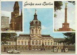 AK Berlin 3 Bilder Gedächtniskirche Oldtimer Color #0024 - Charlottenburg
