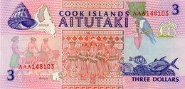 COOK ISLANDS 3 DOLLARS 1992 P 7 AAA Prefix UNC - Isole Cook