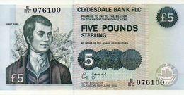 Scotland, Clydesdale Bank, 5 Pounds, 2002, P-218, UNC - [ 3] Escocia
