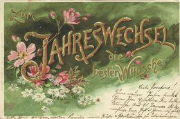"""AK Neujahr Golddruck Blumen """"Erika"""" 1901 #108 - New Year"""