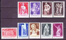 Romania 1961 MiNr. 1942 - 1950  Rumänien People Sculptors Arts Sculptures 9v MNH** 10,00 € - Beeldhouwkunst