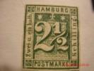 HAMBURG 1864,  MICHEL 9 OR SCOTT 12,  2&1/2  S  GREEN,  UNUSED NG - Hamburg
