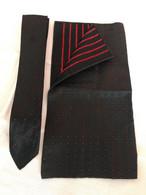 Ensemble Cravate & Pochette Soie Noir Vintage - Scarves