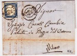 SARDEGNA - 1861 - SASSONE N°15 SEUL Sur LETTRE De PAVIA Pour MILANO - COTE 2004 = 90 EUROS - Sardaigne