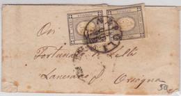 SARDEGNA - 1862 - SASSONE N°19 PAIRE Sur BANDE JOURNAL De NAPOLI Pour LANCIANO - Sardaigne