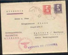 España 1939. Carta Diplomatica De Monforte De Lemos A Alemania. Exenta Censura. - Marcas De Censura Nacional