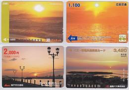 Lot De 4 Cartes Prépayées Japon - Coucher De Soleil - Sunset Japan Prepaid Cards Karten  - 164 - Paysages