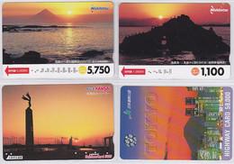 Lot De 4 Cartes Prépayées Japon - Coucher De Soleil - Sunset Japan Prepaid Cards Karten - 165 - Telefonkarten