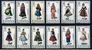 ESPAÑA 1969 - TRAJES REGIONALES - EDIFIL Nº 1898/1909 - YVERT 1558-1560C + 1575-1580 - Textile