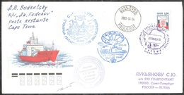 """RAE-48 RUSSIA 2002 COVER Used ANTARCTIC EXPEDITION STATION BASE POLAR """"MIRNY"""" CAPE TOWN PAQUEBOT SHIP FEDOROV Mailed - Forschungsstationen"""