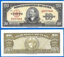 Cuba 20 Pesos 1949 Antonio Maceo Kuba Peso Centavos Centavo Caraibe Bitcoin Paypal OK! - Cuba