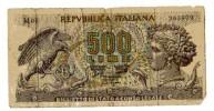 BILLET ITALIE - P.93a - 1966 - 500 LIRES - ARETHUSE - AIGLE CHASSANT UN SERPENT - DAUPHIN - [ 2] 1946-… : Repubblica