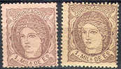 # Spain    159 & 159b, Mint, Og,  SCV $13.50  (s159-3,   Michel  96a & 96b - 1850-68 Royaume: Isabelle II