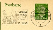 DR  P298 Postkarte Mst. 250 J. ACADEMIA HALLENSIS 1944 - Alemania