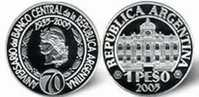 ARGENTINE / ARGENTINA: KM #140 - 1 Peso - 70th Anniv. Of The Central Bank Of Rep. Argentina - BCRA (2005) PROOF Ag - Argentine