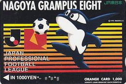 Carte Orange Japon Sport - FOOTBALL LEAGUE / NAGOYA GRAMPUS / Orca Orque - Soccer Japan JR Card - Fußball Karte - 343 - Sport