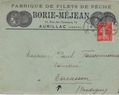 SEMEUSE CAMEE - 1912 - CANTAL - ENVELOPPE PUBLICITAIRE DECOREE (PECHE) De AURILLAC - Lettres & Documents