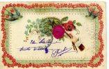 Carte Gauffrée Avec MAIN TENANT UN BOUQUET, Rose En Tissus, Hirondelle - Fantaisies