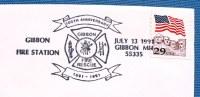 """ETATS UNIS Pompiers, Firemen, Bomberos. Oblitération Temporaire """"POMPIERS """" 13 Juillet 1991 Gibbon Station - Sapeurs-Pompiers"""