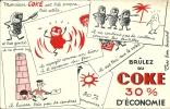"""Buvard """"COKE"""" Brûlez Du Coke 30% D´économie - Buvards, Protège-cahiers Illustrés"""