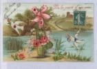 De La Part D'un Ami Colombes Fleurs Roses . CPA . FRANCE . - Fancy Cards