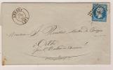 N° 14 BLEU NAPOLEON SUR LETTRE / ANGERS MAINE ET LOIRE POUR ORTHE / 19 JUIL 1860 - 1849-1876: Période Classique