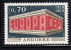French Andorra Scott #189 MNH 1969 Europa - Andorre Français
