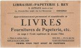 38 GRENOBLE - Libraire - Papeterie J.Rey - 23 Grande Rue Angle J.J Rousseau - Blotters