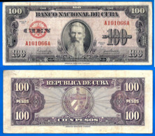 Cuba 100 Pesos 1954 Que Prix + Port Aguilera Caraibe Caribe Kuba Peso Paypal Bitcoin OK! - Kuba
