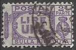1927 - 1 L. - Aquila, Cifra E Fasci - Sezione Ricevuta - Usato - Oblitered - Pacchi Postali