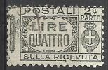 1927 - 4 L. - Aquila, Cifra E Fasci - Sezione Ricevuta - Usato - Oblitered - Pacchi Postali
