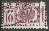 1927 - 10 L. - Aquila, Cifra E Fasci - Sezione Bollettino - Usato - Oblitered - Pacchi Postali