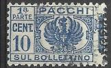 1945 - 10 C. - Aquila, Cifra E Fregi Fascio Littorio Soprastampato Con Fregi - Sezione Bollettino - Usato - Oblitered - Pacchi Postali