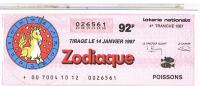 BILLETS LOTERIE NATIONALE ZODIAQUE POISSONS  1987....LO70 - Billets De Loterie