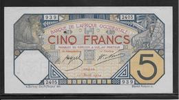 Afrique Occidentale Française 5 Francs Pick N°5Bb SPL 10 Avril 1924 - Billets