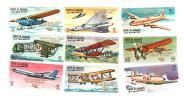 100829)Umm Al-Qaywayn Storia Dell´ Aviazione 9 Valori Nuovi** Con Soprastampa Natale 1968 - Umm Al-Qiwain