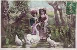RPPC REAL PHOTO POSTCARD CUTE LITTLE CHILDREN WITH EASTER DUCK GOOSE STUDIO POSE ** PAQUES ENFANTS   PHOTO MONTAGE - Enfants