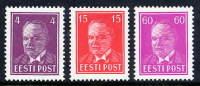 ESTONIA 1936 Päts Definitive New Values LHM / *.  Michel 124-26 - Estonia
