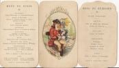 Superbe Menu Gastronomique En 3 Pièces.Illustration.Déjeuner.Diner.Médaillon.Relief.Dorure.Illustration Colorisée. - Menu