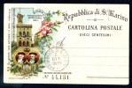 Carte Pionnière 1894. Répubblica Di S. Marino. CARTOLINA POSTALE DIECI CENTESIMI. - Saint-Marin