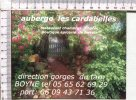 CARTE PUBLICITAIRE   -   Auberge  Les Cardabelles  -  Boyne - 12 - Non Classés