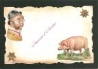 BELLE C.P.A  COLLAGE -  COCHON - TETE D'HOMME - SOUVENIR D'AMITIES - Fancy Cards