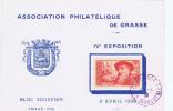 France Exposition Philatélique De Grasse 1938, Yv. 344, Tirage 500 - Marcophilie (Lettres)