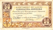 BILLETE DE 50 CTS DEL AJUNTAMENT DE LLEIDA  (BANKNOTE) - Non Classificati